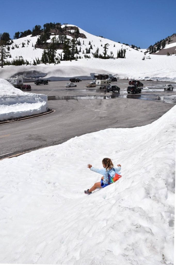 Sliding Down the Snow in Lassen Volcanic National Park