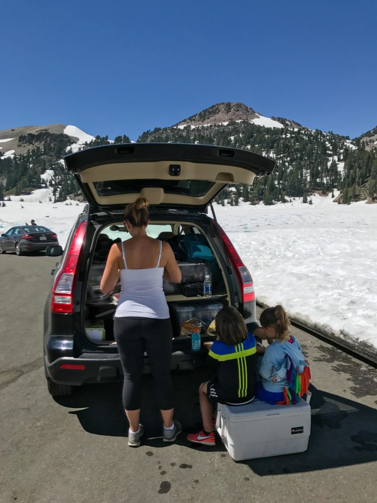 Quick lunch stop at Lassen Volcanic with kids