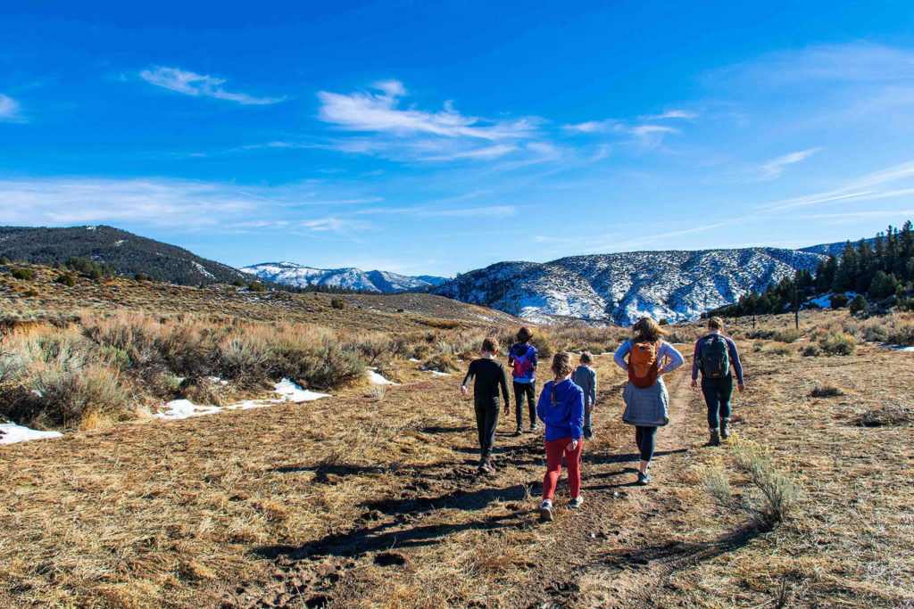Photo of families hiking a trail in Los Padres