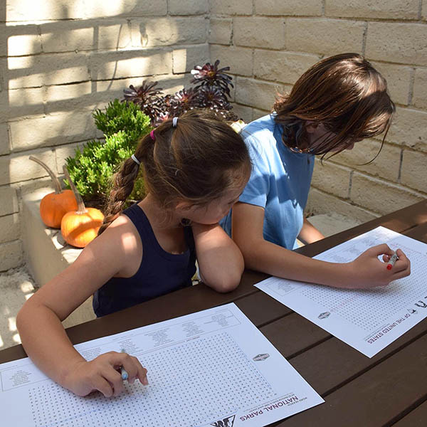 Image of kids doing a national park word search